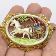 Vintage Ornate Carved Celluloid HORSE DRAWN CARRIAGE BROOCH PIN Enamel Gold Tone