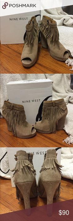 """Suede Fringe Peep Toe Booties Nine West Icelandic Taupe Suede Ankle Boots with Fringe, size 8.5. Leather; Synthetic sole Shaft approx 6.5"""" from arch Heel approx 4.5"""" Platform approx 0.75"""" Boot opening approx 10"""" around. Very sassy! These are in great used condition, some wear on the soles, and can see some picks around the boot opening. Normal wear on the suede but nothing too noticeable. Comes with box. Nine West Shoes Ankle Boots & Booties"""
