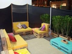 backyard ideas with wooden pallets | This entire patio set is created with Wood Pallets. Pinned over at ...