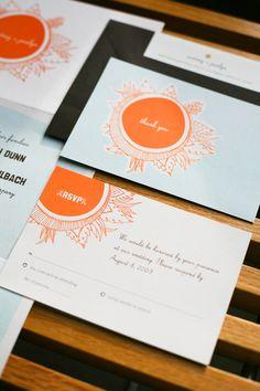 Cute sun inspired wedding invitations