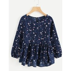 SheIn(sheinside) Calico Print Frill Hem Blouse (255 MXN) ❤ liked on Polyvore featuring tops, blouses, multicolor, pattern blouse, peplum blouse, collar blouse, floral blouse and blue floral blouse