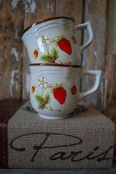 A Pair of Vintage Wild Strawberry Tea Cups and Coffee Mugs. $20.00, via Etsy.