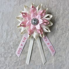 Baby Girl Shower Decor Girl Baby Shower Gift Mom to Be Pin Its a Girl Pin Mommy to Be Pin New Mom Gift Ivory Pink Baby Shower