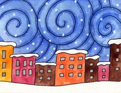 City Painting, Winter Painting, Painting For Kids, Drawing For Kids, Art For Kids, Painting Art, Painting Gallery, Winter Art Projects, Winter Crafts For Kids