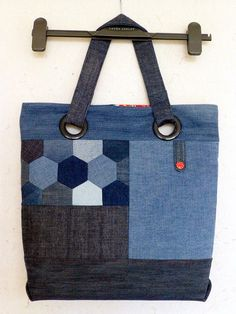 Repurposed denim (hexie) bag - Judith Hollies