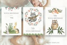Birthday Frames, Learning Numbers, Frame Template, Child Life, Watercolor Animals, Holiday Photos, Woodland Animals, Neutral Colors, Simple Designs