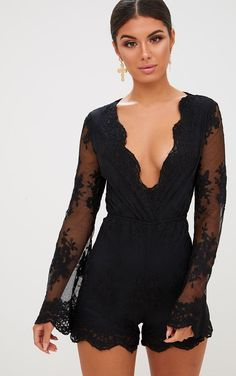 Black Lace Bell Sleeve Playsuit Look ultra-fierce in this playsuit. Cute Rompers, Rompers Women, Jumpsuits For Women, Rompers Dressy, Romper Outfit, Playsuit Romper, Black Romper, Black Jumpsuit, Lace Top Jumpsuit