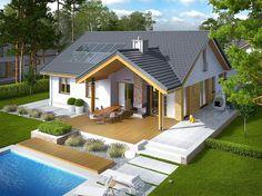 Projekt domu Simon energo plus - koszt budowy 239 tys. 2 Bedroom House Design, House Roof Design, Simple House Design, Modern Bungalow House, Bungalow House Plans, Dream House Exterior, Residential Architecture, Autocad, Home Fashion