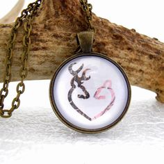 Buck and Doe Necklace Browning  Deer  Pendant by ginnysboutique, $14.75