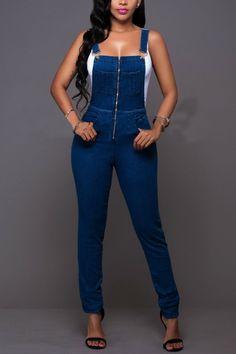 Blue Denim High Quality Pocket  Bib pants