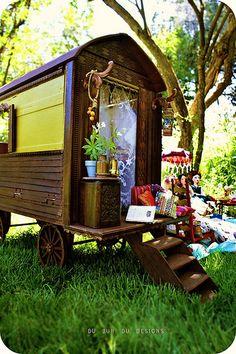 Handmade Gypsy Caravan, Dolls, cakes, parasol,lanterns ..    dubuhdudesigns.typepad.com/du_buh_du_designs/2009/06/en-r... Gypsy Caravan, Gypsy Wagon, Caravan Parks, Mini Caravan, Gypsy Trailer, Gypsy Life, Gypsy Soul, Porches, Gypsy Living
