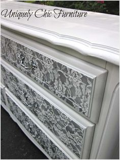 Image via: uniquely chic mosaics If you have an unsightly old dresser and you are thinking to get rid of it then change your plan. Image via: kjohnson 88 You can give it a budget-friendly yet a stunning makeover. For that paint it in a solid color and simply place pieces of lace fabric over it when dried. After that