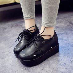 Mujer-Zapatillas-Cordones-Cuna-Plataforma-Planos-Punk-Creepers-Zapatos-Botas
