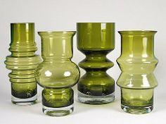 Riihimaen Lasi Oy / Riihimaki Glass Vases 1970s 8'' (Psychoceramicus) Tags: green glass vintage finland design still tamara nanny retro vase finnish 1970s aladin scandinavian vases oy lasi riihimki riihimaki riihimen riihimaen