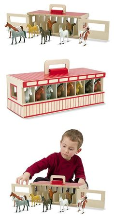 {Take-Along Show-Horse Stable Play Set} This handsome pretend-play stable set houses eight toy horses, each in its own wooden stall.