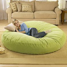 Huge Bean Bag Chair. Need this. Our couch isnt big enough for all of us comfortably.