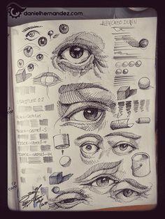 Gif animado de bocetos de ojos. A Level Art Sketchbook, Artist Sketchbook, Realistic Drawings, Art Drawings Sketches, Funky Art, Anatomy Art, Sketchbook Inspiration, Ink Illustrations, Artist Art