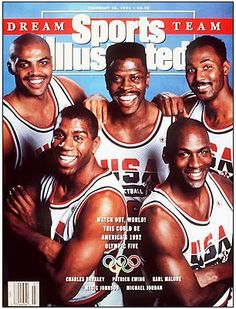 The 1992 U. men's Olympic basketball team (a. The Dream Team) covers the February 1991 issue of Sports Illustrated. The players covering the issue were Charles Barkley, Patrick Ewing, Karl Malone, Magic Johnson, and Michael Jordan. Magic Johnson, Shawn Johnson, Karl Malone, Patrick Ewing, 1992 Olympics, Summer Olympics, Basketball Legends, Basketball Players, Olympic Basketball