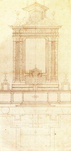 Francesco Borromini - Progetto per altare, forse per Santa Maria in Selci - Roma