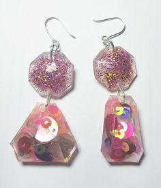 Apricot/Pink and silver glitter resin mismatched jewels. On Sterling Silver earring hooks. Mermaid Glitter, Silver Glitter, Brisbane, Hooks, 18th, Resin, Jewelry Design, Handmade Items, Australia