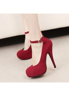 USD$12.86 Vogue Round Toe Platform Red Suede Ankle Strap Stiletto Heel Pumps at martofchina.com