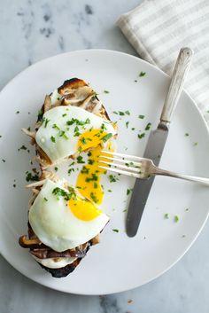 Mushroom Toast with Soft-Cooked Eggs via @sundaysuppers