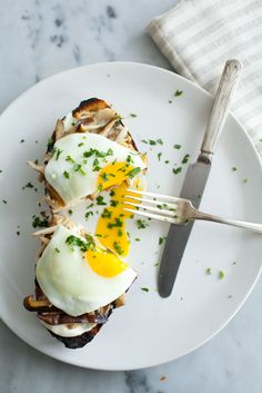 Mushroom Toast with Soft-Cooked Eggs via @sundaysuppers