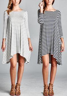 Kelly Dress [Black & White, Grey & White]