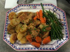 Ingredients: 4 thick pork chops (frozen or not) 2 baking potatoes 3 or 4 carrots peeled and cut into 2 inch pieces ½ lb pearl onions 1 jar salsa (12 or 16 oz) ½ lb green beans Salt and pepper to ta…