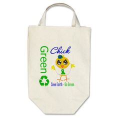 Green Chick Save Earth Go Green Bags by www.allaboutchicksgifts.com