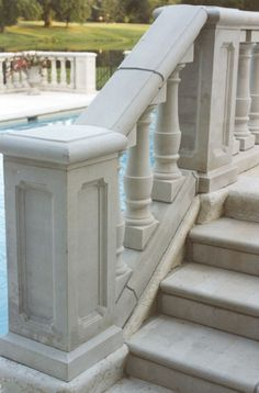 stone balustrade and newel pier with steps Stone Legends Architectural Cast Stone Balcony Grill, Balcony Railing, Stairs Balusters, Surf House, Property Design, Patio Makeover, Balcony Design, Garden Landscape Design, Stone Houses