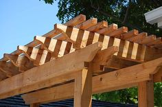 Redwood arbor with simple ogee end cuts in mountain view