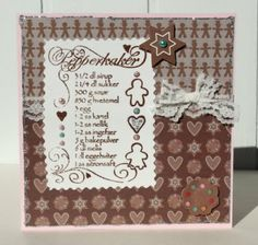 Ginger bread receipe stamp card with lace