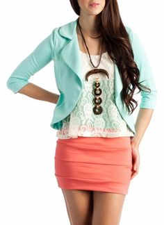 I have a mint blazer and a coral blouse, I could pair with a white skirt.