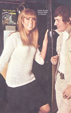 SWINGING PARTY-TIME SWEATER Cool and pretty for a carefree evening, this crochet sweater is a knock-out. And smiling Pattie Boyd says it's easy to make, too. Pattie posing at the exclusive Scotch of St. James club in London with Allan Clarke of the. George Harrison Pattie Boyd, Wonderful Tonight, For You Blue, Celebrity Stars, Thing 1, Wife And Girlfriend, Love Her Style, Twiggy, The Beatles