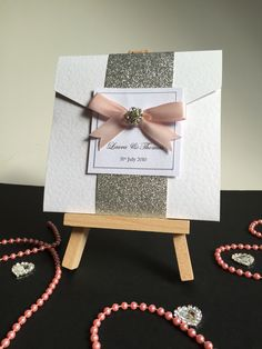 Meet 'Rebecca' a pocket fold invite with silver glitter wrap around and cute bow with diamanté detail each and includes envelope, three inserts and addressed rsvp envelope also. Laura Thomas, Invitation Examples, Invite, Invitations, Cute Bows, Silver Glitter, Rsvp, Color Schemes, Envelope