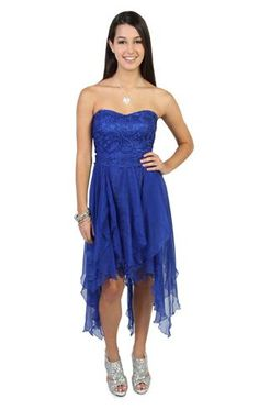 royal blue strapless prom dress lace with high low skirt