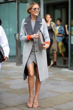Coat w/pop of orange from shirt sleeves