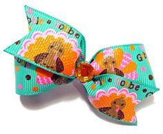 Last one Thanksgiving Hair BowThanksgiving Dog Bow by CreateAlley