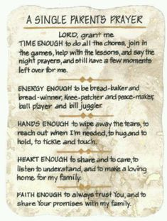 A Parents Prayer! Not just the single ones...