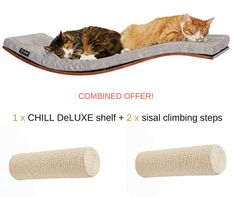 This is a combined offer including 1 x CHILL DeLUXE cat shelf + 2 x sisal climbing steps. Save 10% off the regular price on both items and enjoy a combined shipping. Our classically designed wall-mounted CHILL DE-LUXE cat shelf provides all that your cat desires when it comes to perching