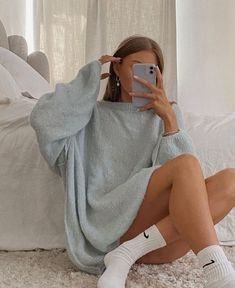 Follow our Pinterest Zaza_muse for more similar pictures :) Instagram: @zaza.muse | Style inspiration. Women's fashion. Light blue knitted sweater. Cozy home outfit.