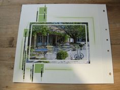 embellishments: green echoes the photograph, frame and thin strips are made FROM photos!