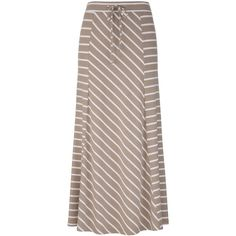 Striped Knit Maxi Skirt ($32) ❤ liked on Polyvore featuring skirts, bottoms, maxi skirts, long brown skirt, stripe long skirt, knit skirt, brown maxi skirt and long skirts