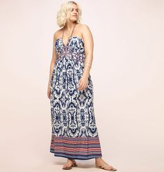 875a5e13bb11 Get your feel-good flow on this summer with our plus size Tribal Halter Maxi