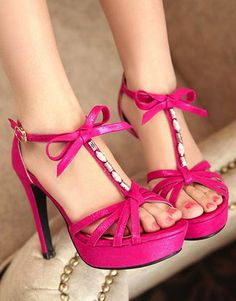Rose pink bowknot shoes