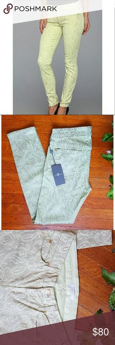 """7FAM the skinny jean 7 for all mankind """"The Skinny"""" jeans in color Celery. Almond foil with snake skin paisley print design.  Brand new. 7 For All Mankind Jeans Skinny"""