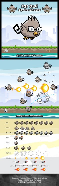 77d9b9b9bd792 Bevouliin Game Asset  Fat Owl Shooter Game Character Sprite Sheets ¨C This  Game asset