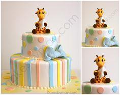 Giraffe Baby Shower Cake - Cakes by Maylene