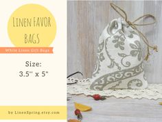 Linen bags. White grey candy bags 45. Linen burlap bags, Small Gift Bags, Christening favors bags. Jewelry Pouches